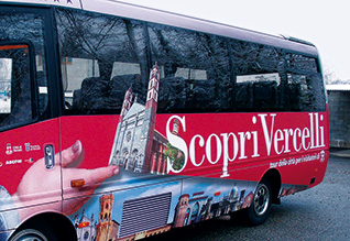Bus decoration with digital print on removable adhesive